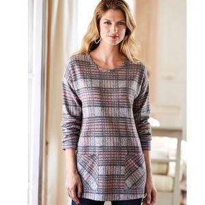 Soft Surroundings Justine Plaid Tunic Pockets Sz M
